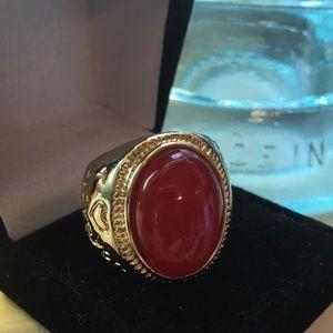 Jewelry - Vintage Red Jade Signet Ring